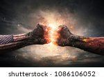 conflict  close up of two fists ... | Shutterstock . vector #1086106052