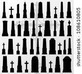 vintage old cemetery crosses... | Shutterstock .eps vector #108610805