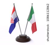 croatia and italy  two table... | Shutterstock . vector #1086112862