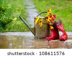 Red Rain Boots  Watering Can...