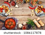 frame with various foods....   Shutterstock . vector #1086117878