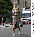 Small photo of PARIS, France- September 29 2017: Linda Tol on the street during the Paris Fashion Week
