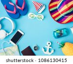 top view travel concept with... | Shutterstock . vector #1086130415
