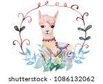 cute alpaca and flowers in... | Shutterstock . vector #1086132062