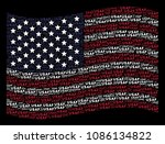 USAF text items are arranged into waving USA flag abstraction on a dark background. Vector composition of America state flag is designed with USAF text items.