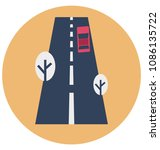 road flat isolated vector icon ... | Shutterstock .eps vector #1086135722