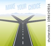 forked road. concept of choice  ... | Shutterstock .eps vector #1086143816