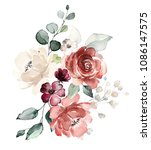 watercolor flowers. floral... | Shutterstock . vector #1086147575
