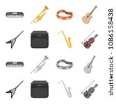 electric guitar  loudspeaker ... | Shutterstock .eps vector #1086158438