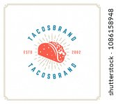 tacos logo design vector... | Shutterstock .eps vector #1086158948