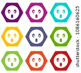 frightened emoticon set many... | Shutterstock . vector #1086160625