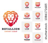 tiger and lions face logo badge ... | Shutterstock .eps vector #1086172685