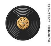 vector vinyl disc  record  on... | Shutterstock .eps vector #1086174368