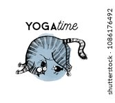 funny yoga cats.hand drawn... | Shutterstock .eps vector #1086176492