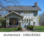 blue house with pergola   heavy ... | Shutterstock . vector #1086183362