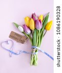 heart shape ribbon attached to...   Shutterstock . vector #1086190328