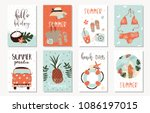 vector set of bright summer... | Shutterstock .eps vector #1086197015