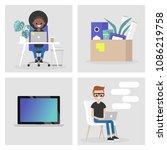 modern office set. collection... | Shutterstock .eps vector #1086219758