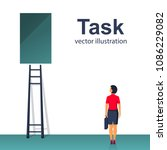 task concept. businesswoman is... | Shutterstock .eps vector #1086229082