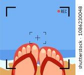 tourist feet in video vector.... | Shutterstock .eps vector #1086230048