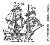 hand drawn sea ship... | Shutterstock .eps vector #1086240002