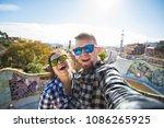 travel couple happy making... | Shutterstock . vector #1086265925