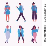 vector illustration of fashion... | Shutterstock .eps vector #1086268412