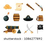 objects of piracy. bright... | Shutterstock .eps vector #1086277892
