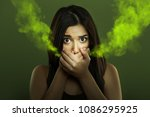 Halitosis concept of woman with ...