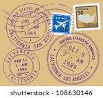set of usa post stamp symbols ...