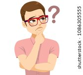 young man with glasses thinking ... | Shutterstock .eps vector #1086305555
