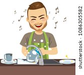 young happy man wearing apron... | Shutterstock .eps vector #1086305582