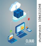 cloud computing technology... | Shutterstock .eps vector #1086311048