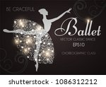 ballet school flyer template.... | Shutterstock .eps vector #1086312212