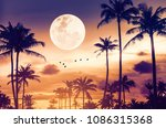 tropical night. full moon and... | Shutterstock . vector #1086315368