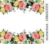 flower frame with rose flower.... | Shutterstock .eps vector #1086323555