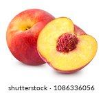 fresh peach fruits and half.... | Shutterstock . vector #1086336056