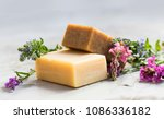 Natural handmade soap bars with ...