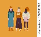 young women friends... | Shutterstock .eps vector #1086341882