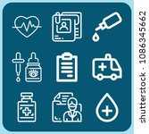 medical related set of 9 icons... | Shutterstock .eps vector #1086345662