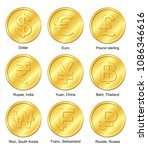 9 currencies gold coin. dollar  ...   Shutterstock .eps vector #1086346616