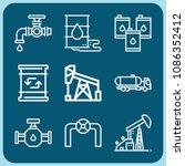 oil related set of 9 icons such ... | Shutterstock .eps vector #1086352412