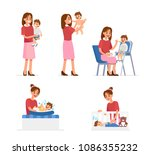 mother and baby collection.... | Shutterstock .eps vector #1086355232