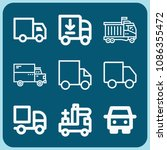 lorry related set of 9 icons...   Shutterstock .eps vector #1086355472