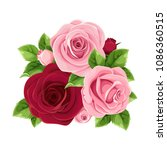 vector pink and burgundy roses... | Shutterstock .eps vector #1086360515
