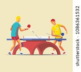 two people playing table tennis ...   Shutterstock .eps vector #1086361532