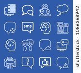 chat related set of 16 icons... | Shutterstock .eps vector #1086368942