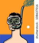man in the beach with mask and snorkel in yellow background - stock vector
