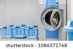 washing machine and laundry... | Shutterstock . vector #1086371768