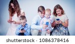 game addiction concept. group... | Shutterstock . vector #1086378416